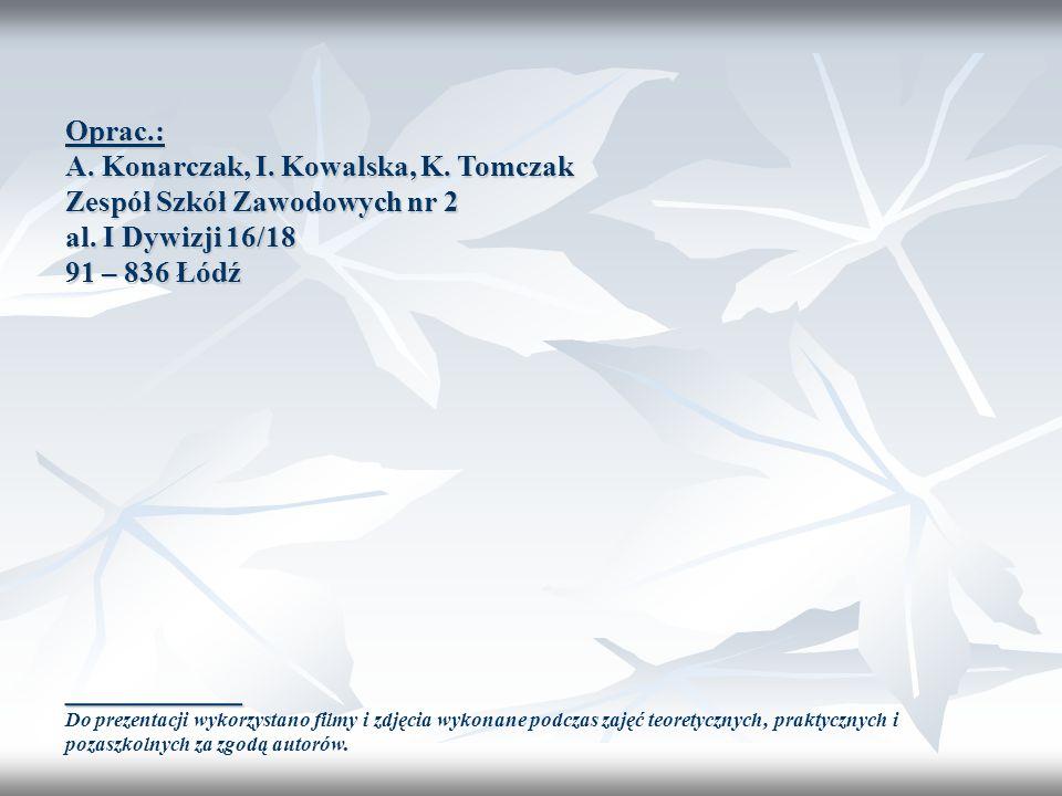 __________ Oprac.: A. Konarczak, I. Kowalska, K. Tomczak