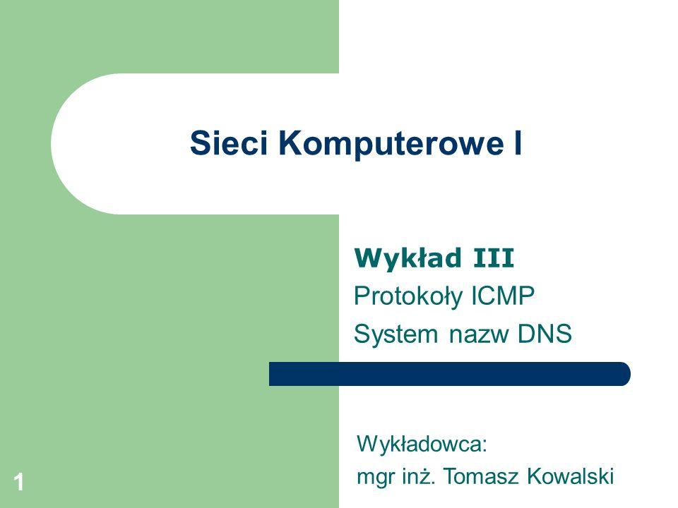 Wykład III Protokoły ICMP System nazw DNS