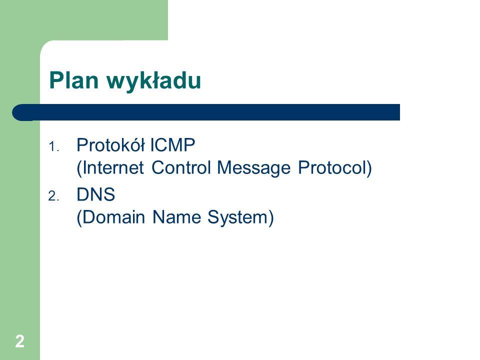 Plan wykładu Protokół ICMP (Internet Control Message Protocol)