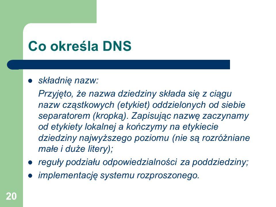 Co określa DNS składnię nazw: