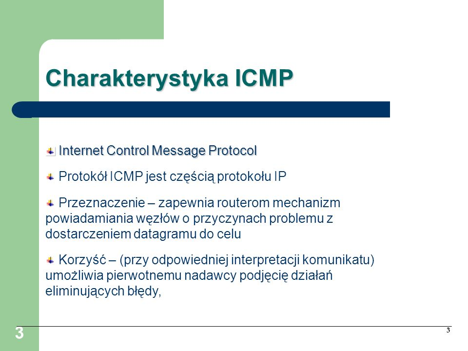 Charakterystyka ICMP Internet Control Message Protocol