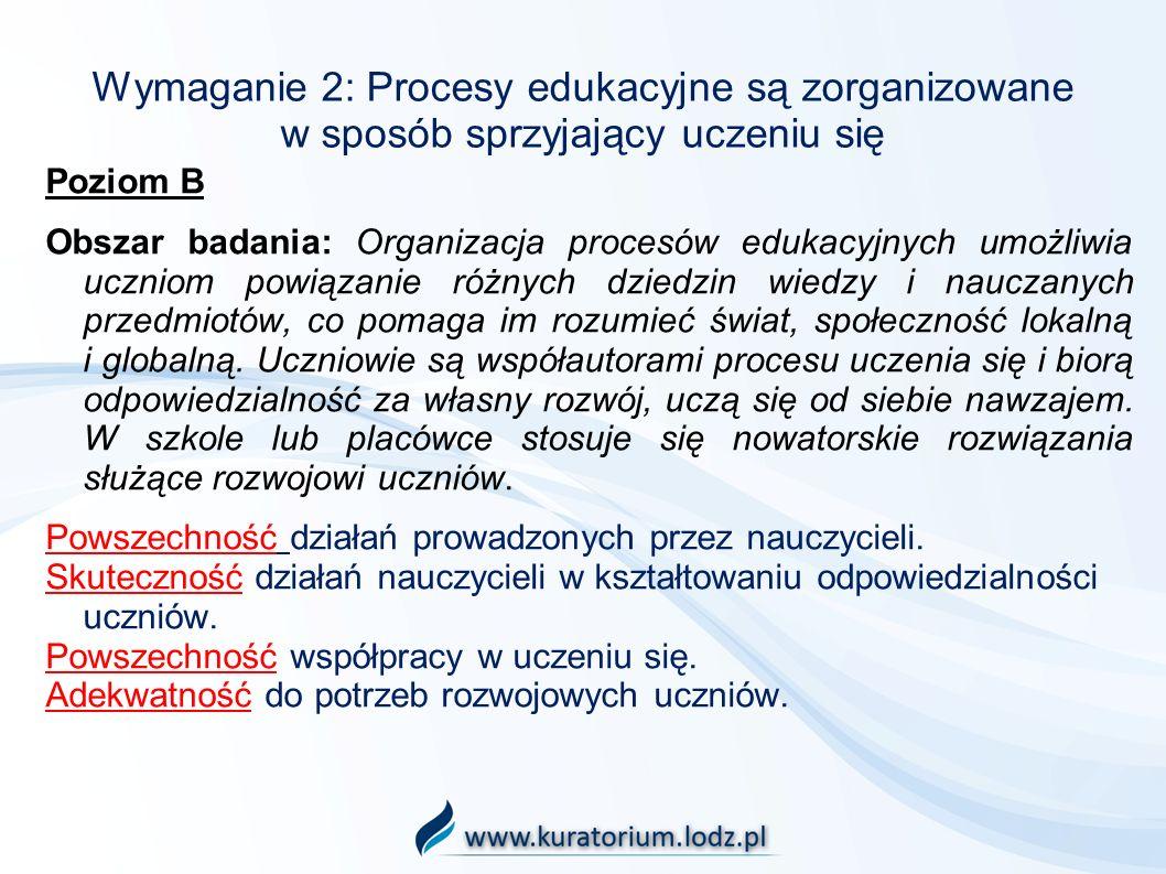 Wymaganie 2: Procesy edukacyjne są zorganizowane w sposób sprzyjający uczeniu się