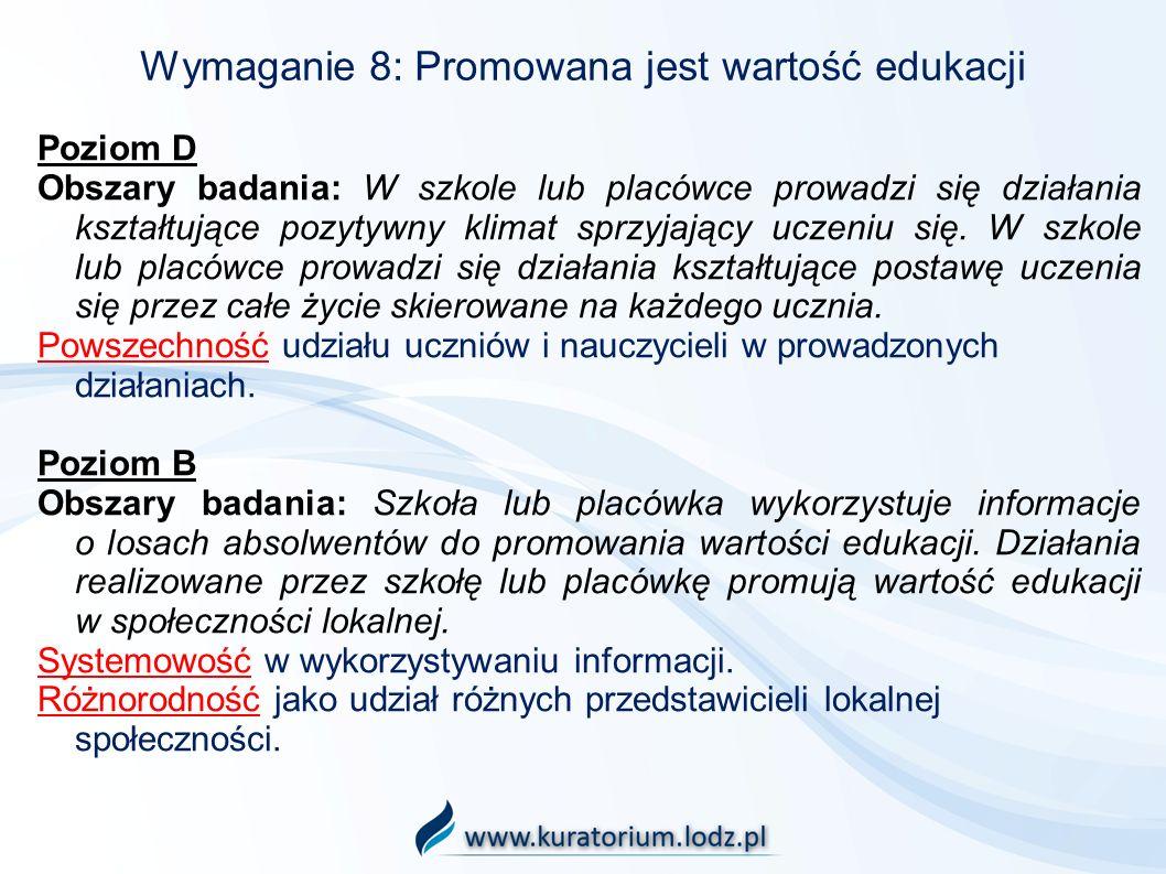Wymaganie 8: Promowana jest wartość edukacji