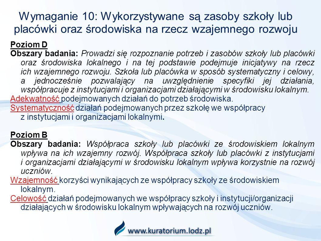 Wymaganie 10: Wykorzystywane są zasoby szkoły lub placówki oraz środowiska na rzecz wzajemnego rozwoju