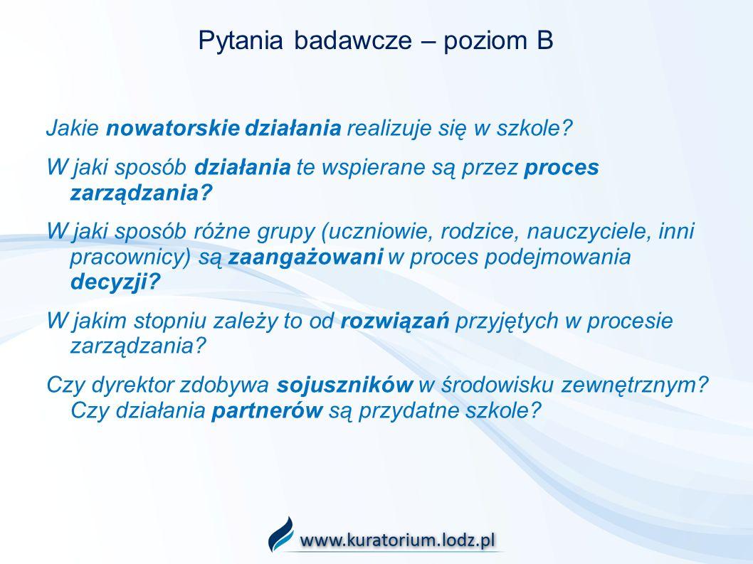 Pytania badawcze – poziom B