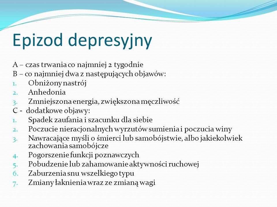 Epizod depresyjny A – czas trwania co najmniej 2 tygodnie