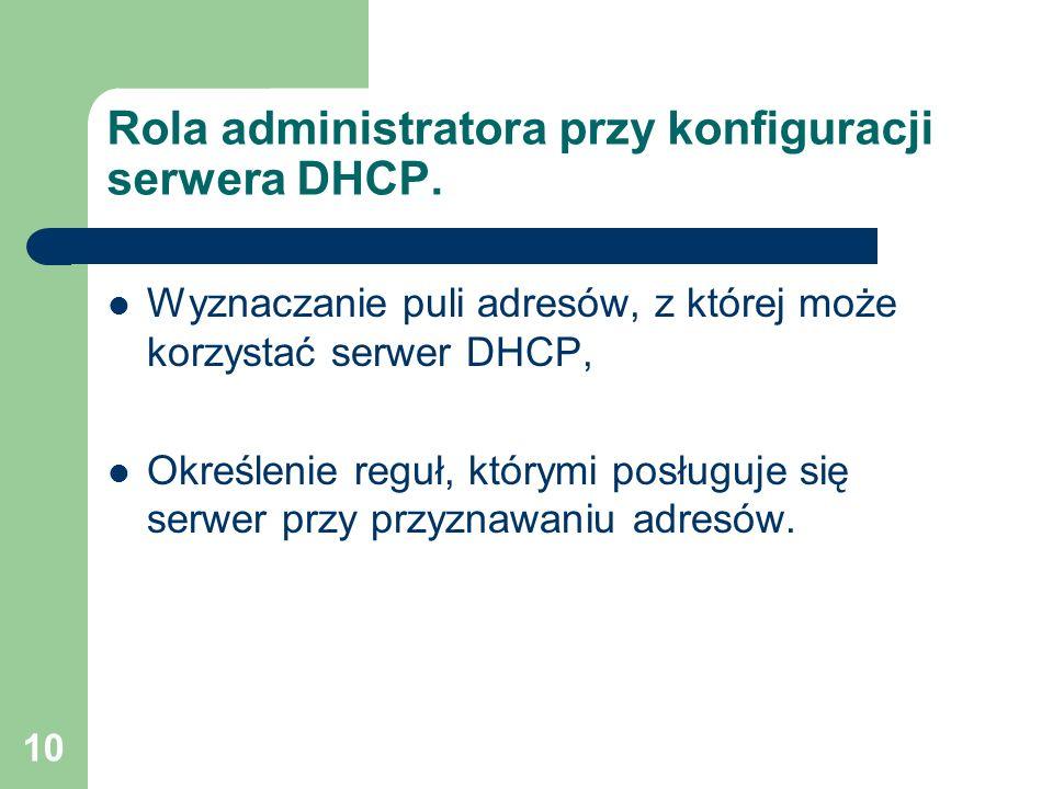 Rola administratora przy konfiguracji serwera DHCP.