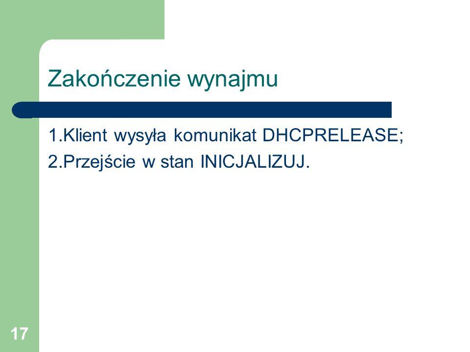 Zakończenie wynajmu 1.Klient wysyła komunikat DHCPRELEASE;