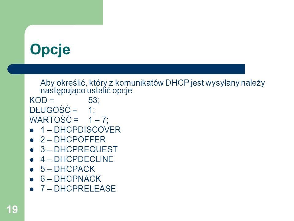 Opcje Aby określić, który z komunikatów DHCP jest wysyłany należy następująco ustalić opcje: KOD = 53;