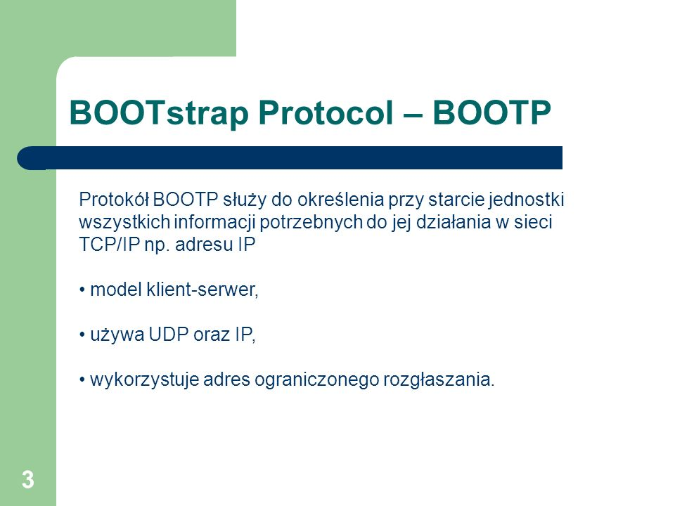 BOOTstrap Protocol – BOOTP