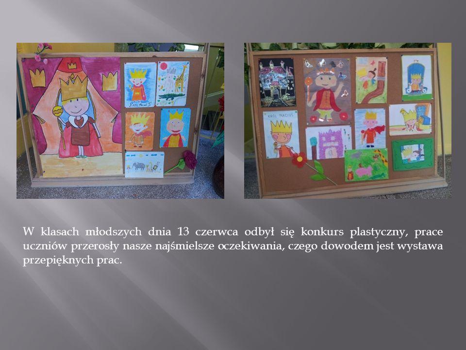 W klasach młodszych dnia 13 czerwca odbył się konkurs plastyczny, prace uczniów przerosły nasze najśmielsze oczekiwania, czego dowodem jest wystawa przepięknych prac.