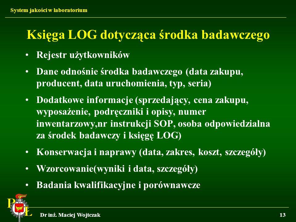 Księga LOG dotycząca środka badawczego
