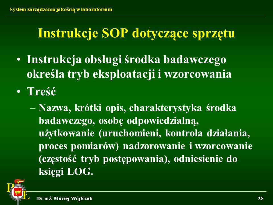 Instrukcje SOP dotyczące sprzętu