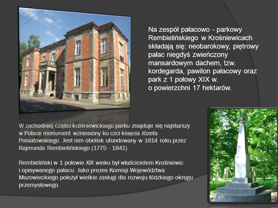 Na zespół pałacowo - parkowy Rembielińskiego w Krośniewicach składają się: neobarokowy, piętrowy pałac niegdyś zwieńczony mansardowym dachem, tzw. kordegarda, pawilon pałacowy oraz park z 1 połowy XIX w. o powierzchni 17 hektarów.