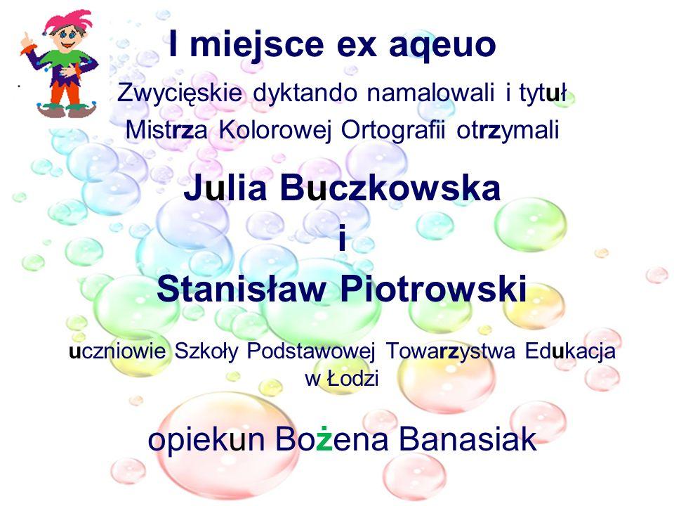 I miejsce ex aqeuo Julia Buczkowska i Stanisław Piotrowski