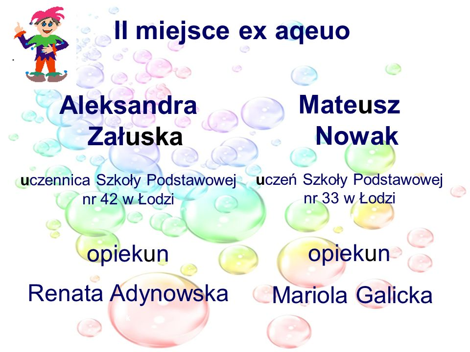 II miejsce ex aqeuo Aleksandra Załuska Mateusz Nowak