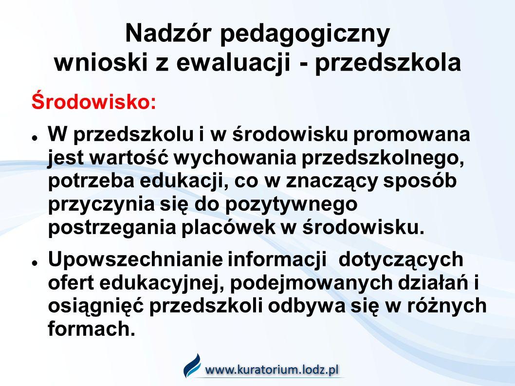 Nadzór pedagogiczny wnioski z ewaluacji - przedszkola