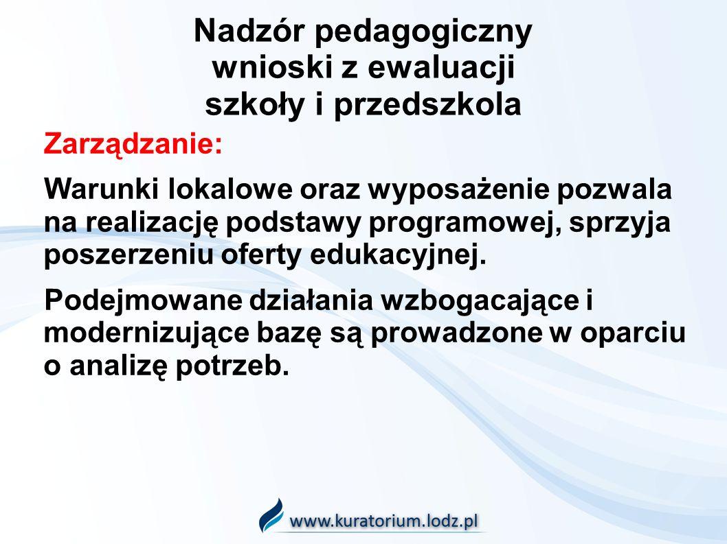 Nadzór pedagogiczny wnioski z ewaluacji szkoły i przedszkola