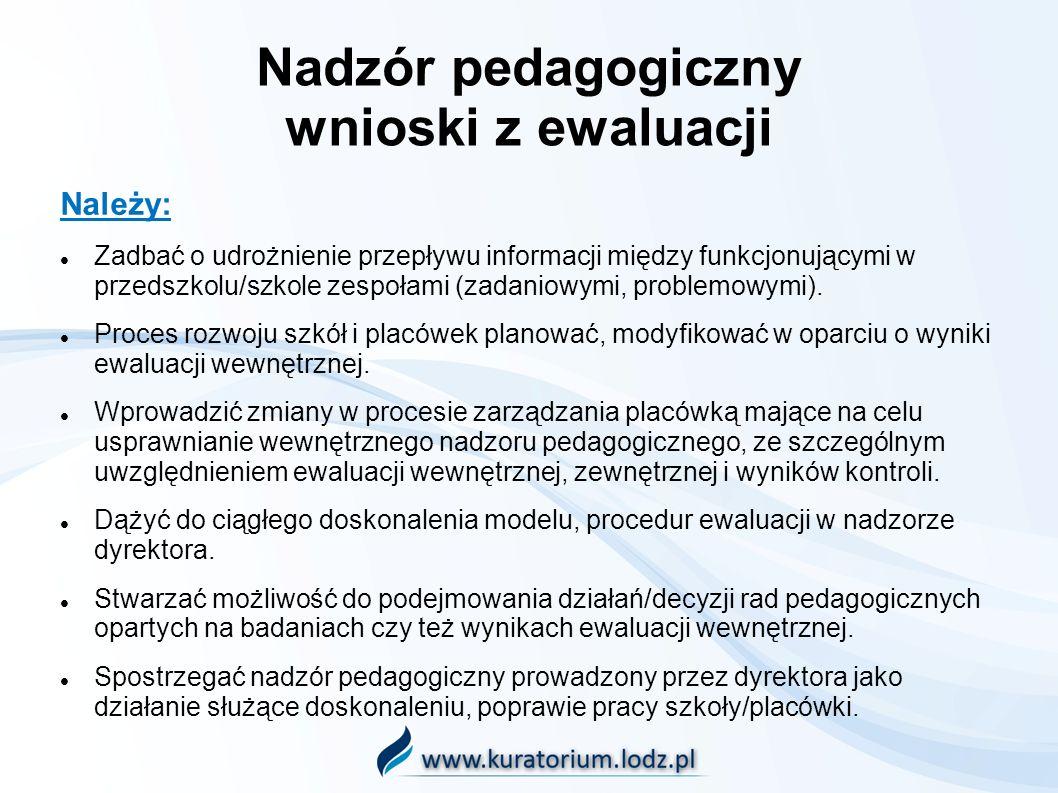 Nadzór pedagogiczny wnioski z ewaluacji