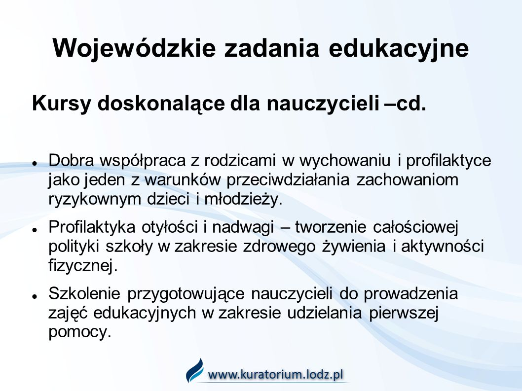 Wojewódzkie zadania edukacyjne