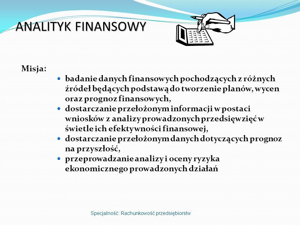 ANALITYK FINANSOWY Misja: