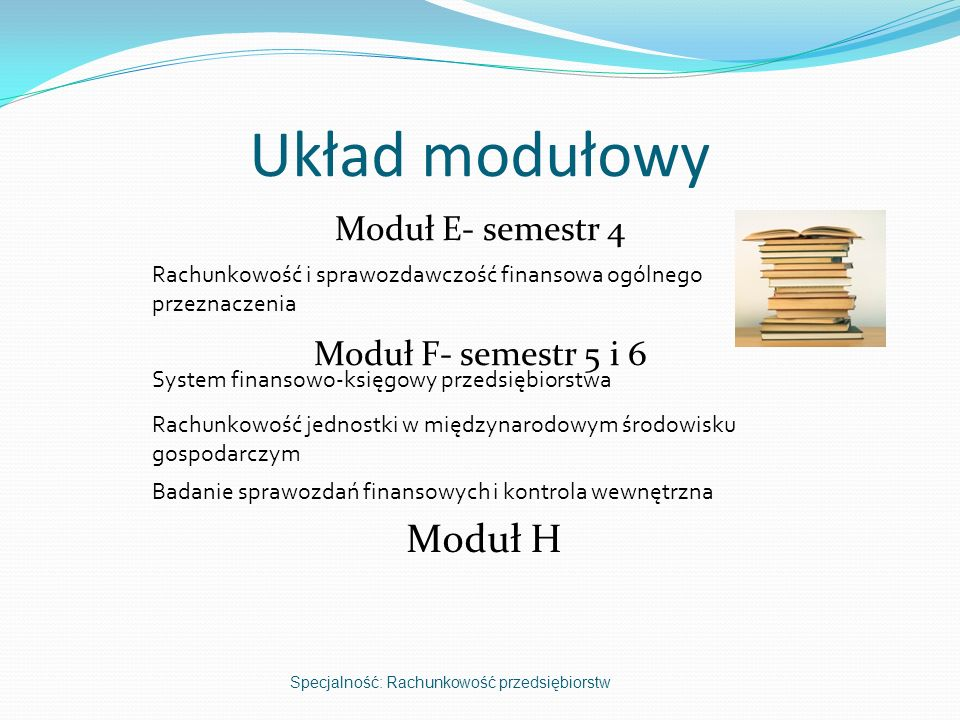 Moduł E- semestr 4 Moduł F- semestr 5 i 6