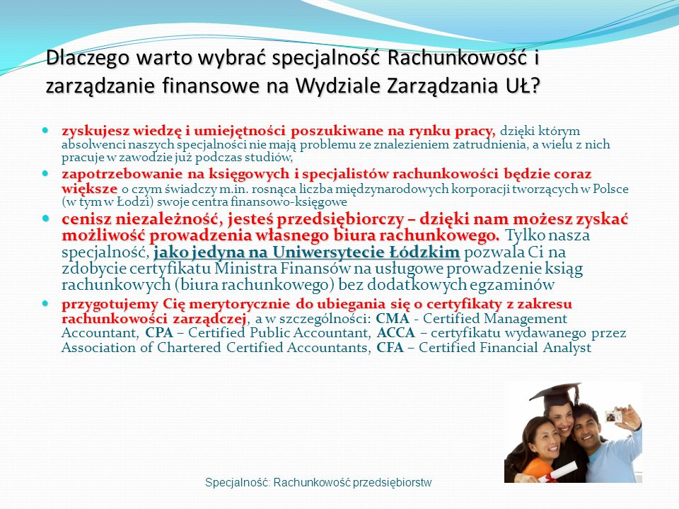 Dlaczego warto wybrać specjalność Rachunkowość i zarządzanie finansowe na Wydziale Zarządzania UŁ
