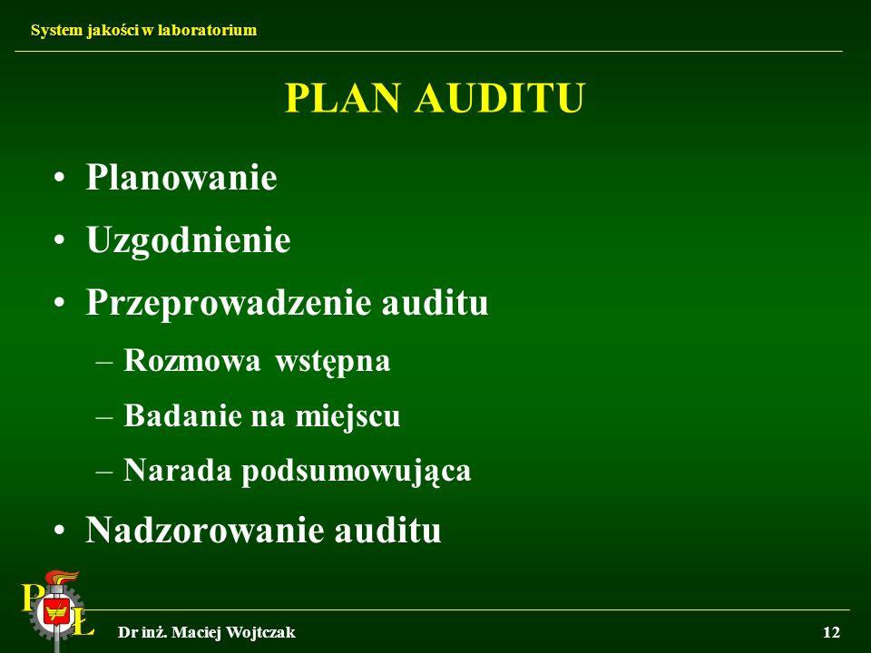 PLAN AUDITU Planowanie Uzgodnienie Przeprowadzenie auditu