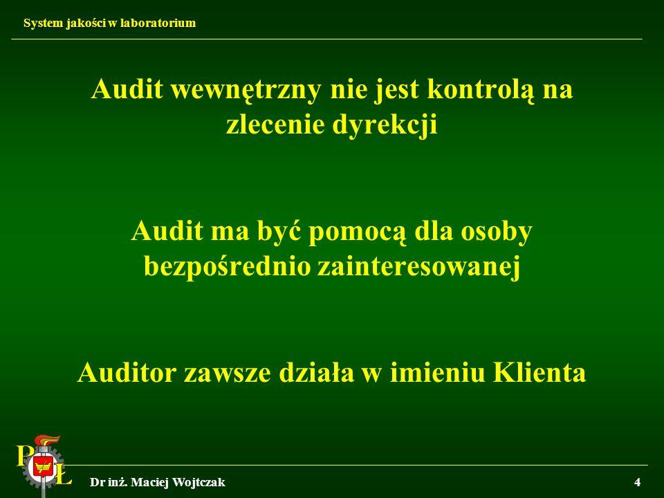 Audit wewnętrzny nie jest kontrolą na zlecenie dyrekcji Audit ma być pomocą dla osoby bezpośrednio zainteresowanej Auditor zawsze działa w imieniu Klienta