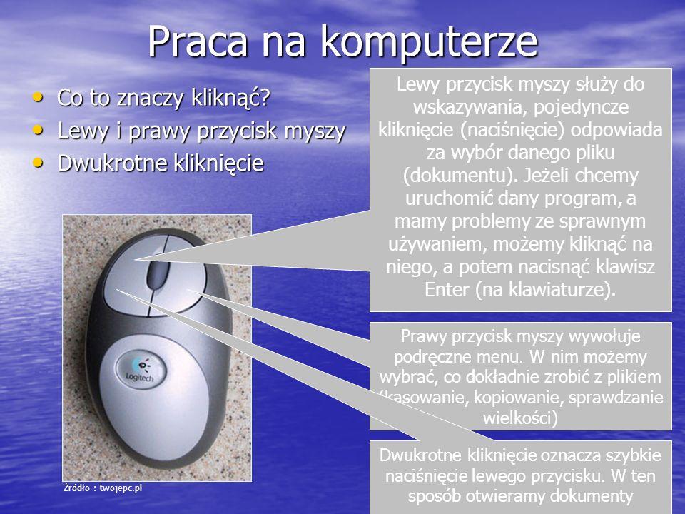Praca na komputerze Co to znaczy kliknąć Lewy i prawy przycisk myszy
