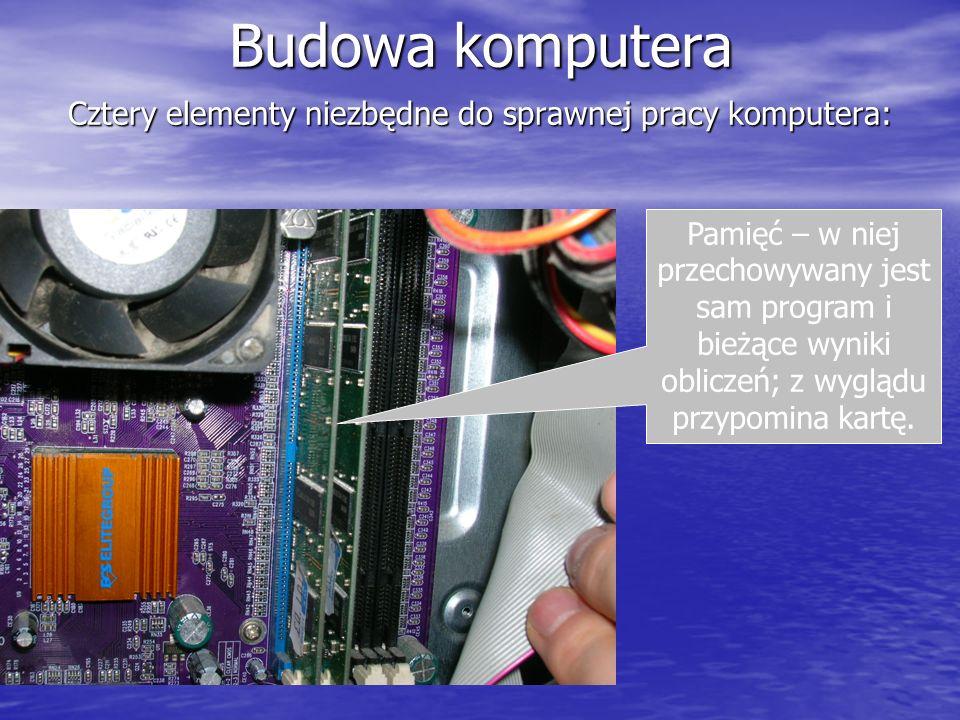 Cztery elementy niezbędne do sprawnej pracy komputera: