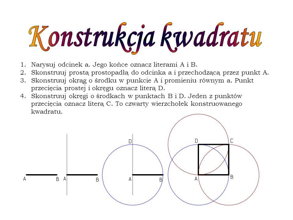 Konstrukcja kwadratu Narysuj odcinek a. Jego końce oznacz literami A i B. Skonstruuj prostą prostopadłą do odcinka a i przechodzącą przez punkt A.