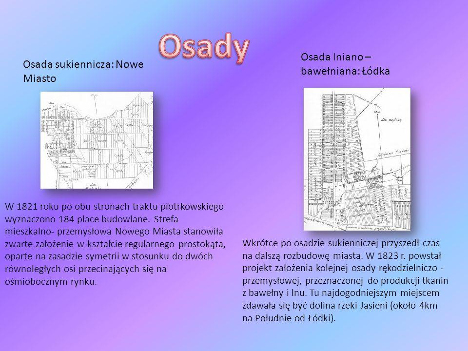 Osady Osada lniano – bawełniana: Łódka Osada sukiennicza: Nowe Miasto