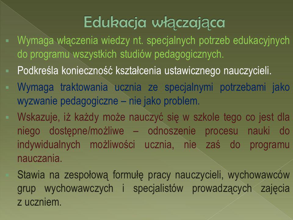 Edukacja włączająca Wymaga włączenia wiedzy nt. specjalnych potrzeb edukacyjnych do programu wszystkich studiów pedagogicznych.