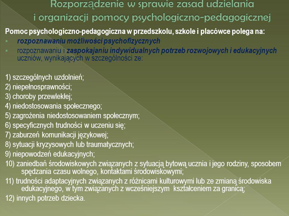 Rozporządzenie w sprawie zasad udzielania i organizacji pomocy psychologiczno-pedagogicznej