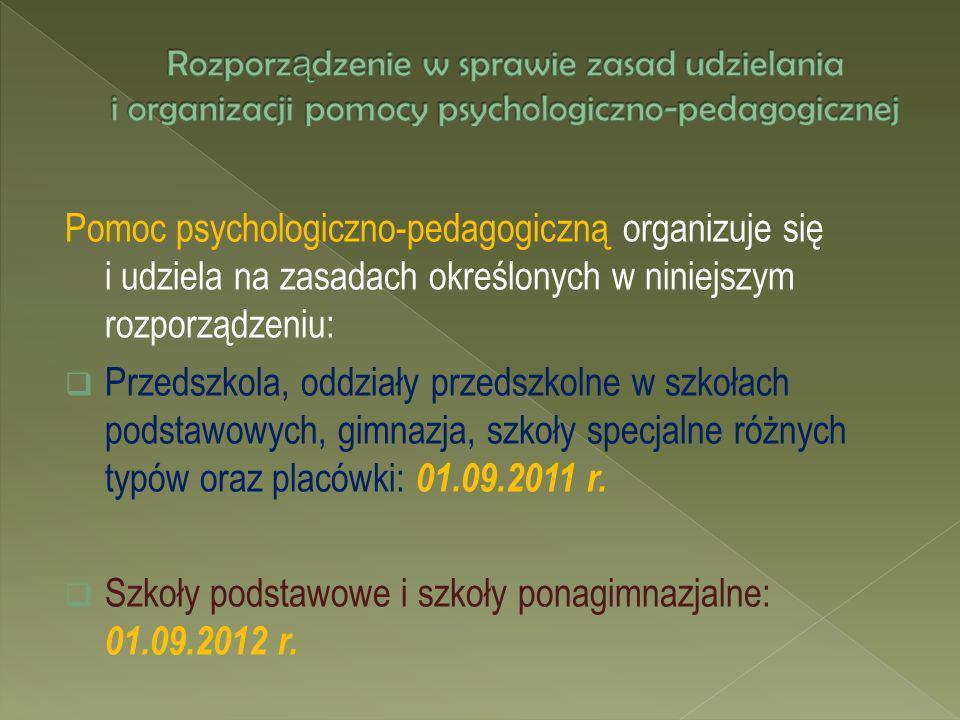 Szkoły podstawowe i szkoły ponagimnazjalne: 01.09.2012 r.
