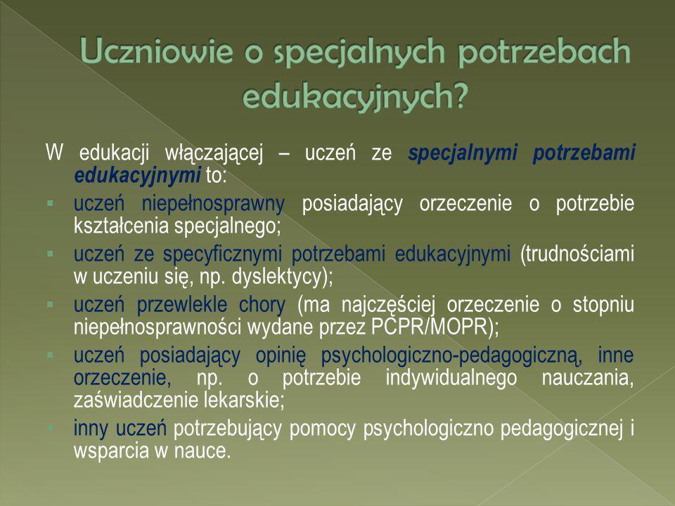 Uczniowie o specjalnych potrzebach edukacyjnych