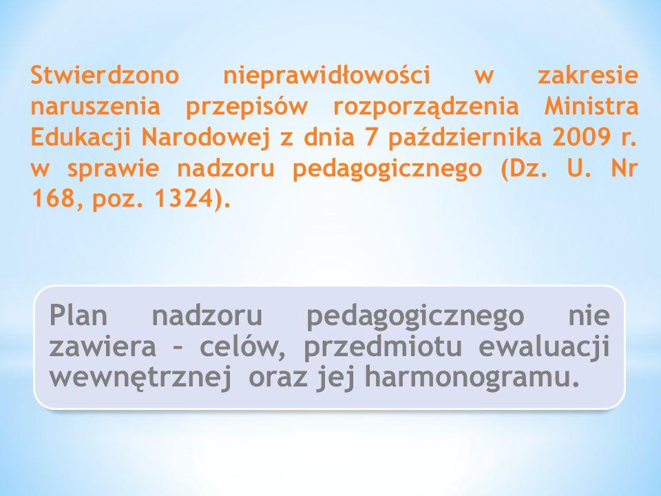 Stwierdzono nieprawidłowości w zakresie naruszenia przepisów rozporządzenia Ministra Edukacji Narodowej z dnia 7 października 2009 r. w sprawie nadzoru pedagogicznego (Dz. U. Nr 168, poz. 1324).