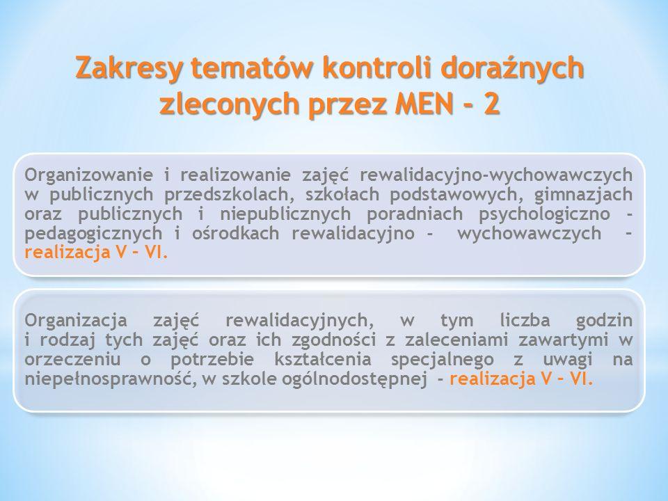 Zakresy tematów kontroli doraźnych zleconych przez MEN - 2