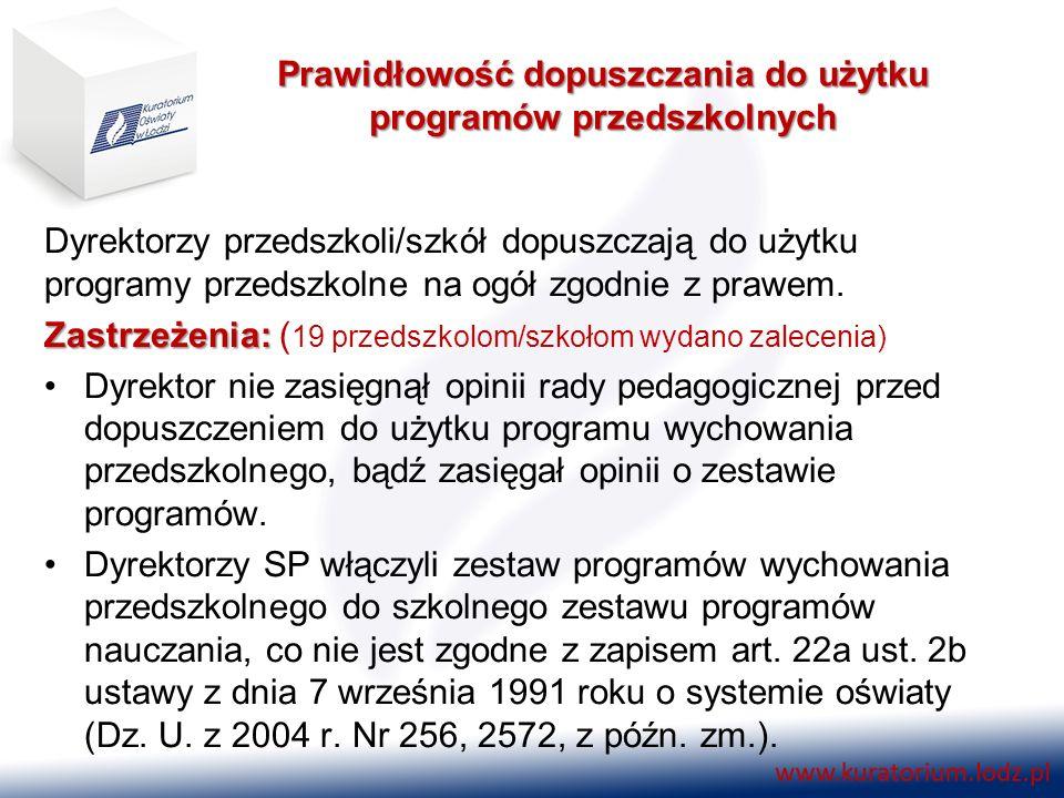 Prawidłowość dopuszczania do użytku programów przedszkolnych