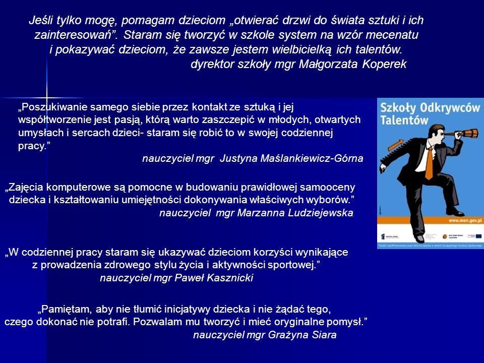 dyrektor szkoły mgr Małgorzata Koperek