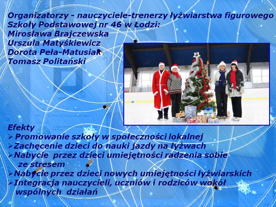 Organizatorzy - nauczyciele-trenerzy łyżwiarstwa figurowego Szkoły Podstawowej nr 46 w Łodzi: