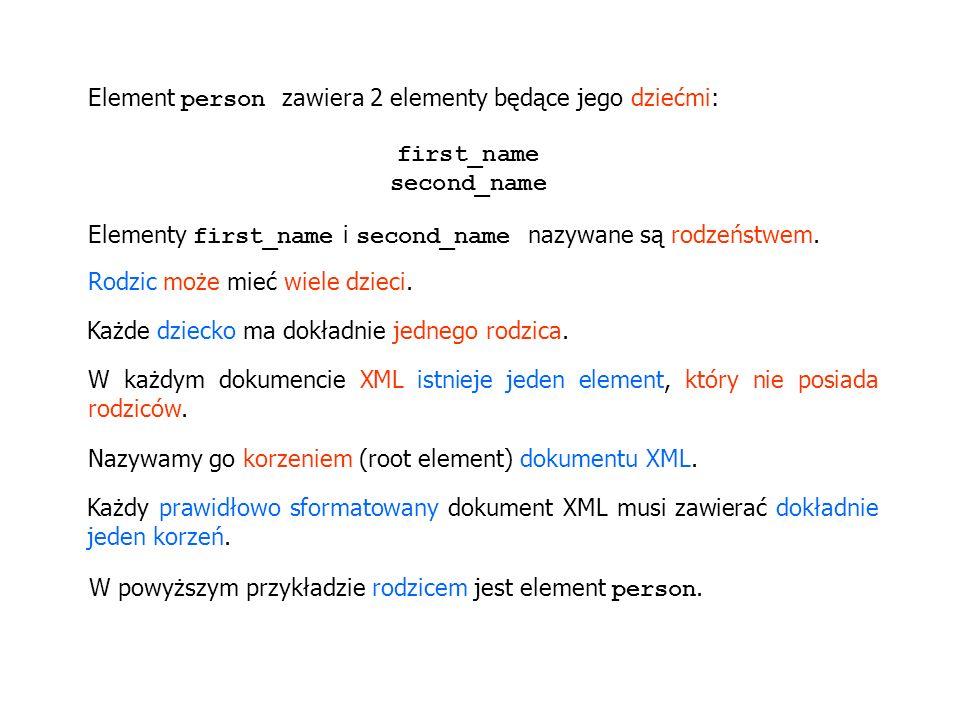 Element person zawiera 2 elementy będące jego dziećmi: