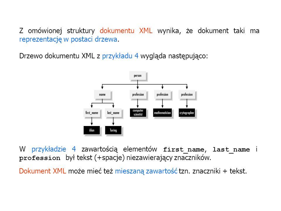 Z omówionej struktury dokumentu XML wynika, że dokument taki ma reprezentację w postaci drzewa.