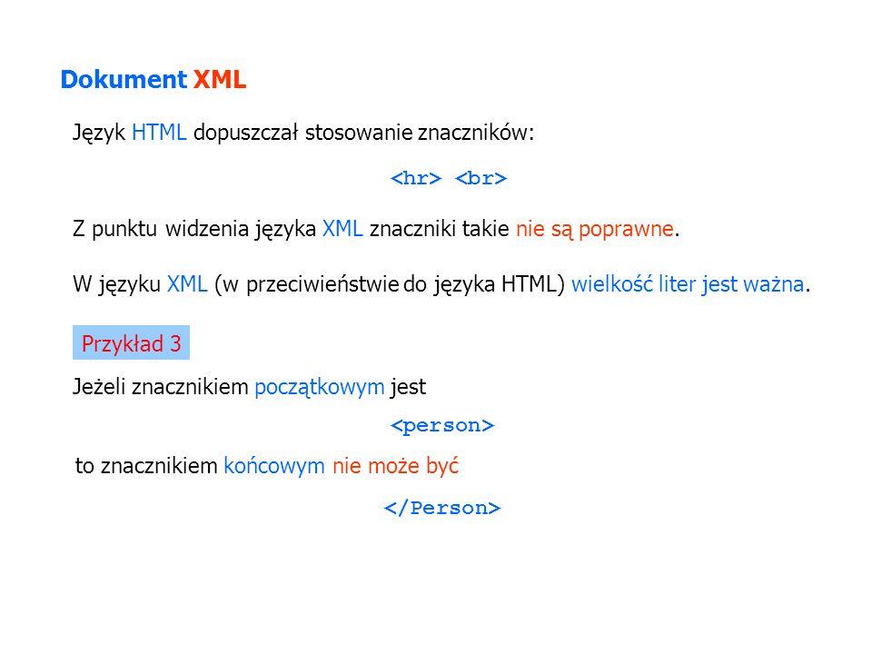 Dokument XML Język HTML dopuszczał stosowanie znaczników: