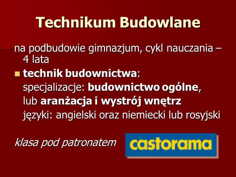 Technikum Budowlane na podbudowie gimnazjum, cykl nauczania – 4 lata
