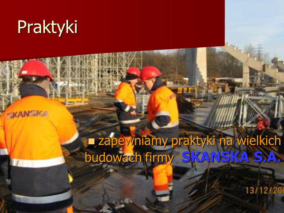 Praktyki zapewniamy praktyki na wielkich budowach firmy SKANSKA S.A.