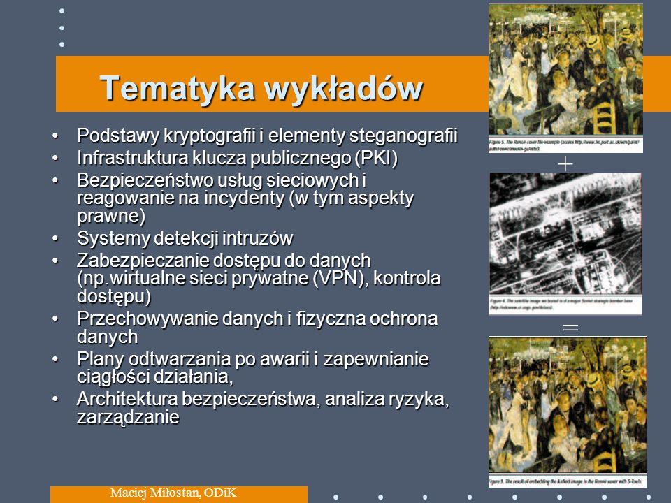 Tematyka wykładów + = Podstawy kryptografii i elementy steganografii