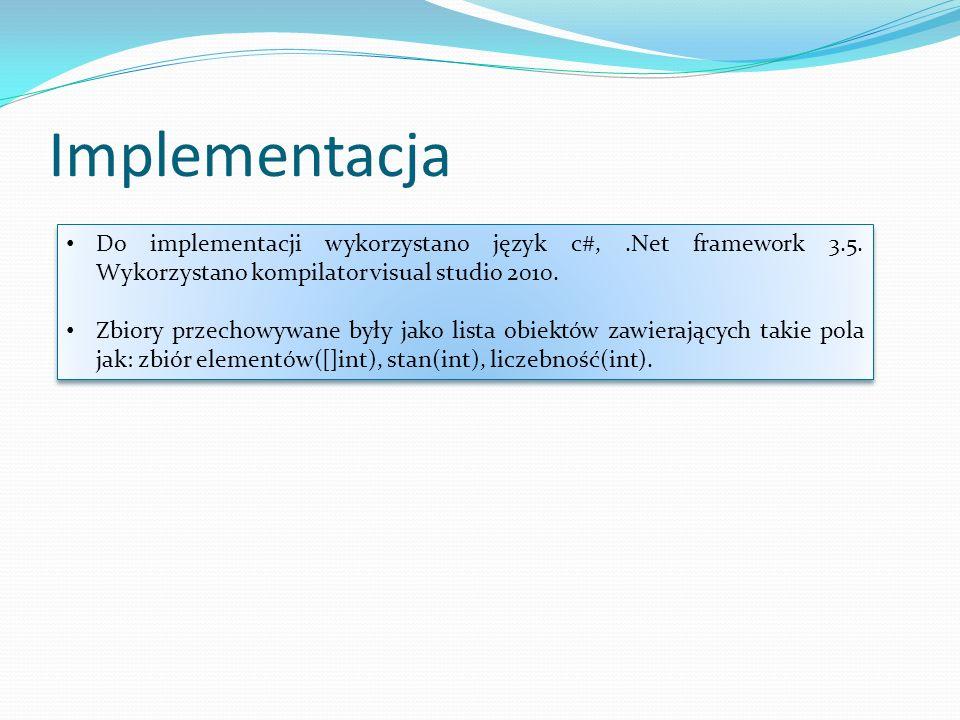 Implementacja Do implementacji wykorzystano język c#, .Net framework 3.5. Wykorzystano kompilator visual studio 2010.