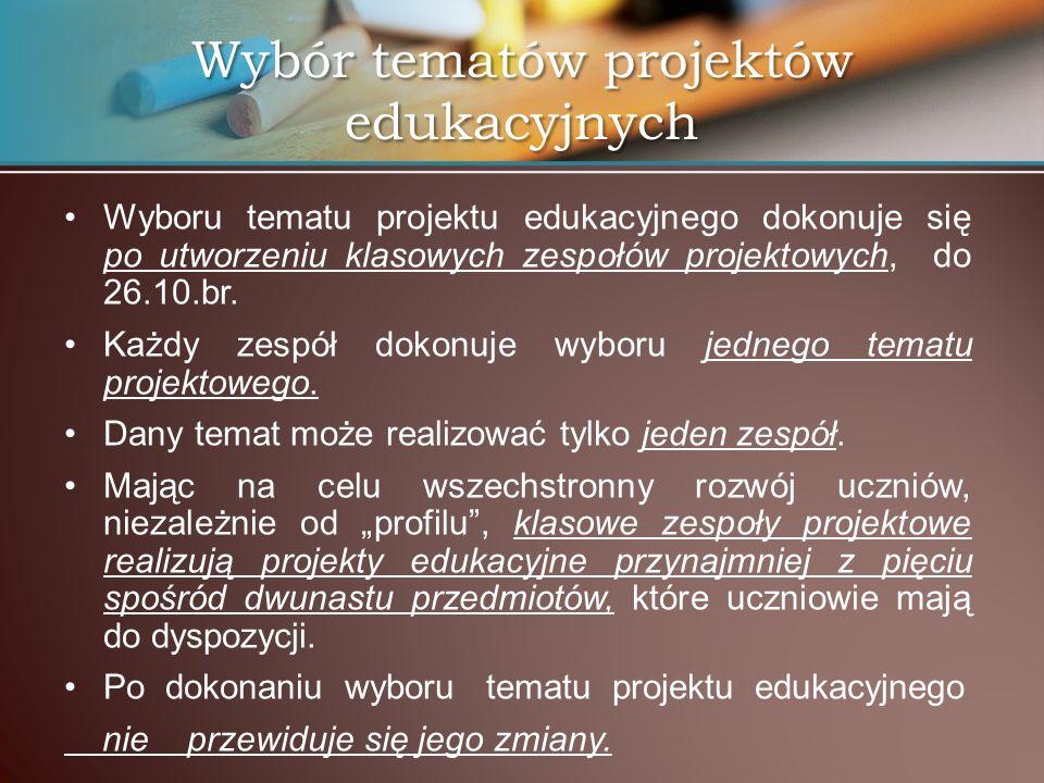Wybór tematów projektów edukacyjnych
